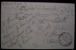Le Havre 1918 129e 329e Régiment D'infanterie Territorial, Dépôt Commun, Cachet Sur Carte Pour Saint Victor Sur Rhône - Guerre De 1914-18