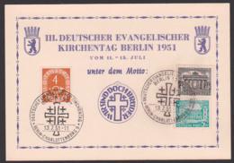 Berlin Gedenkblatt III. Deutscher Evangelistischer Kirchentag 1951, SoSt. Berlin-Charlottenburg 13.7.51 - Berlin (West)