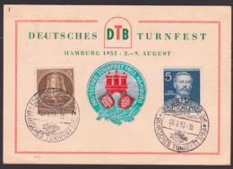 Germany Berlin Gedenkblatt DTB Deutsches Turnfest Hamburg 1953, SoSt. 8.6.54 Mit Vignette FFFF, 5 Pf. Glocke III - [5] Berlin