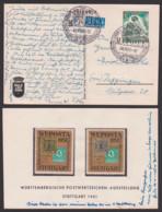 Germany Stuttgart LUPOSTA 10+3 Pf. TdBfm. 1951 Auf Anlasskarte Von Lindner Mit 2 Werbe-Mkn , MiNr. 80, Portorichtig - [5] Berlin