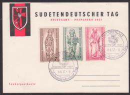 """Germany Gedenkblatt """"Sudetendeutscher Tag Stuttgart Pfingsten 1957"""" SoSt. 8.6.57 Mit Beliner SoMkn 25 Jahre Bistum - Cartas"""
