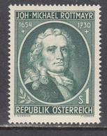 Austria 1954 - Johann Michael Rottmayr, Maler, Mi-Nr. 1007, MNH** - 1945-.... 2nd Republic