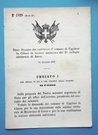 Decreto Regno Italia - Costituzione Uggiano La Chiesa In Sezione Di Lecce 1883 - Vieux Papiers