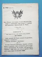 Decreto Regno Italia Nomina Conte Emanuele Borromeo Commissario Regio Nizza 1884 - Vieux Papiers