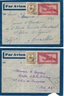 2 Lettres Par Avion Indochine Hanoi Vers Paris 1938 & Bruxelles 1939 - 1927-1959 Brieven & Documenten