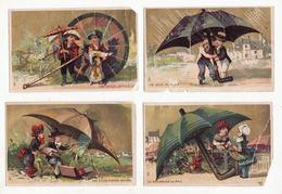 Chromo  PARAPLUIES ESTIEU  à Troyes    Lot De 4    Personnages Et Gros Parapluies     11.5 X 7.4 Cm    Mauvais état - Chromos
