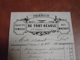 Pharmacie DE FONT REAULX , Facture , 1896, St Junien - 1800 – 1899