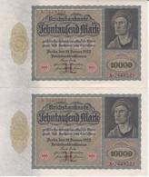 PAREJA CORRELATIVA DE ALEMANIA DE 10000 MARK DEL AÑO 1922  (BANKNOTE) - 10000 Mark