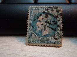 Timbre Empire Français 20 C. Napoléon III  Lauré. 29 B Oblitéré. 1747 Pli - 1863-1870 Napoleon III With Laurels