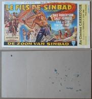 Cinéma Carrefour, Liège, 1956 - Buvard---Le Fils De Sinbad (de Zoon Van Sinbad), 18 Cm X 9,5 Cm - Buvards, Protège-cahiers Illustrés