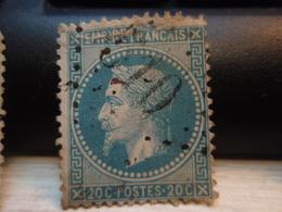 Timbre Empire Français 20 C. Napoléon III  Lauré. 29 B Oblitéré. 510 Abîmé Au Haut - 1863-1870 Napoleon III With Laurels