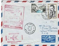 TP 1239 Et 1248 Sur Enveloppe Par Avion Du 1er Vol Lufthansa Frankfort-Paris-Montréal-SanFrancisco - Vliegtuigen