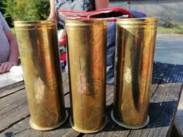 7 Magnifiques Vase ARTISANAT DES TRANCHEES Douilles Ciseler Par Les Poilus    14.18    Rare - 1914-18