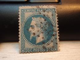Timbre Empire Français 20 C. Napoléon III  Lauré. 29 A Oblitéré. - 1863-1870 Napoleon III With Laurels