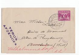 Wilhelminadorp Kortebalk - Terug Afzender - 1928 Onbekend  Adres - Poststempel