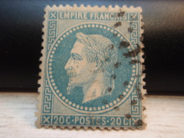 Timbre Empire Français 20 C. Napoléon III  Lauré. 29 B Oblitéré. - 1863-1870 Napoleon III With Laurels