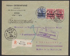 Guerre 14-18 - OC3 X2 (un Fortement Touché) Et 4 Sur Lettre En Recommandé De Mons / Bergen + Censure > Bruxelles - Guerre 14-18