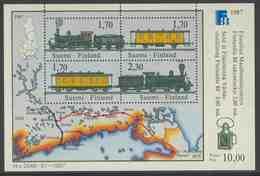 Finland Suomi 1987 B3 = Mi 1017 /20 YT B2 SG ** Trains On The Helsinki-Hameenlinna And Riihimaaki - St.Petersburg Route - Trains