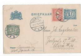 Leeuwarden Langebalk 4 - 1915 Geuzendam 54 B 1 Bijfrankering  Wenen - Postal History