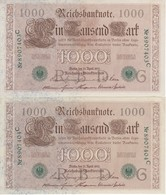 PAREJA CORRELATIVA DE ALEMANIA DE 1000 MARCOS  DEL AÑO 1910 CALIDAD EBC (XF) (BANK NOTE) - [ 2] 1871-1918 : German Empire
