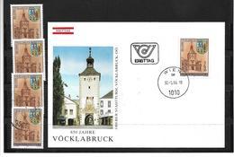 6014b: Österreich 1984, Städtejubiläum, Stadtturm Vöcklabruck, Beleg Und 4 Postfrische/ Gestempelte Briefmarken - Vöcklabruck