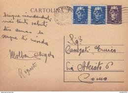 ITALIA - INTERO POSTALE - LIRE.50 CON F.LLI AGGIUNTA - VIAGGIATA DA COMO PER MILANO - 5. 1944-46 Lieutenance & Humberto II