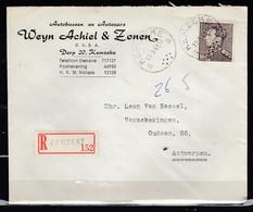 Aangetekende Brief Met Stempel KEMZEKE A - 1936-1951 Poortman