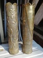 2 Grand Magnifiques Vase ARTISANAT DES TRANCHEES Douilles Ciseler Par Les Poilus - 1914-18