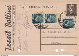 ITALIA - INTERO POSTALE - LIRE. 1.20 CON F.LLI AGGIUNTA - VIAGGIATA DA MANTOVA PER BRESCIA - 5. 1944-46 Lieutenance & Humberto II