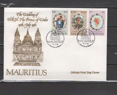 Mauritius 1981 Royal Wedding, Prince Charles And Lady Diana Set Of 3 On FDC - Royalties, Royals
