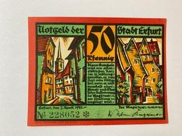 Allemagne Notgeld Erfurt 50 Pfennig - [ 3] 1918-1933 : République De Weimar