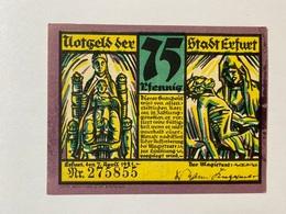 Allemagne Notgeld Erfurt 75 Pfennig - [ 3] 1918-1933 : République De Weimar