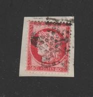 57 De 1872  - Oblitéré  - Type Cérès . Répub. Franc. 80c . Rose  - Sur Fragment  - 2 Scannes - 1871-1875 Ceres