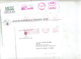Lot 3 Lettres Franchise  Flamme Ema Entete Mairie à Voir - Postmark Collection (Covers)