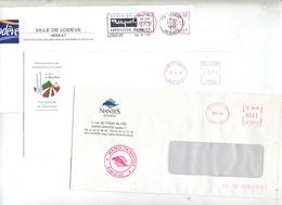 Lot 3 Lettres Franchise  Machine Entete Mairie à Voir - Postmark Collection (Covers)