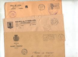 Lot 11 Lettres Franchise Flamme  Entete Mairie à Voir - Mechanical Postmarks (Advertisement)