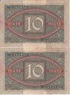 PAREJA CORRELATIVA DE ALEMANIA DE 10 MARCOS DEL AÑO 1920  (BANKNOTE) - 10 Mark
