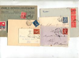 Lot 12  Lettres Cachet Sur Semeuse à Voir - Postmark Collection (Covers)