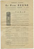 TARIF FABRIQUE D'ARMES LE FUSIL KERNE - VERSAILLES / CHASSE - 1950 - ...