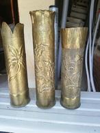 LOT DE 15 Magnifiques Vase ARTISANAT DES TRANCHEES Douilles Ciseler Par Les Poilus Rare - 1914-18