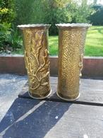2 Magnifiques Vase ARTISANAT DES TRANCHEES Douilles Ciseler Par Les Poilus Rare - 1914-18
