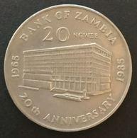 ZAMBIE - ZAMBIA - 20 NGWEE 1985 - Banque De Zambie - KM 23 - 1965 BANK OF ZAMBIA 1985 20TH ANNIVERSARY - Sambia