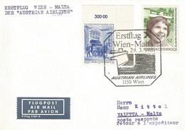 Österreich: Brief 1981 Mit Nr. 1471+1304: AUA-Erstflug Wien-Malta #H50 - AUA-Erstflüge