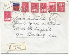 H386 - BAS RHIN - BOOFZHEIM- 1975 - ROND Avec CODE POSTAL 67 - Recommandé - - Marcophilie (Lettres)