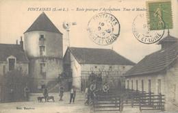 J86 - 71 - FONTAINES - Saône-et-Loire - Ecole Pratique D'Agriculture - Tour Et Moulin - Altri Comuni