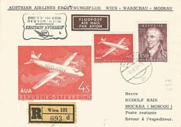 Österreich: Brief 1959 Mit Nr. 1041+1066: AUA-Erstflug Wien-Warschau-Moskau #H50 - AUA-Erstflüge