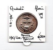 AUSTRALIE FLORIN 1927 UNC. ZILVER OPENING PARLIAMENT HOUSE - Pre-decimale Munt (1910-1965)