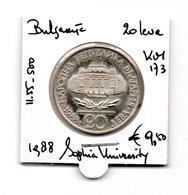 BULGARIJE 20 LEVA 1988 ZILVER SOPHIA UNIVERSITY - Bulgarie