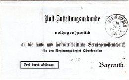 Bayern 1909, Frei Durch Ablösung Zustellungsurkunde Brief V. STEINWIESEN - Allemagne