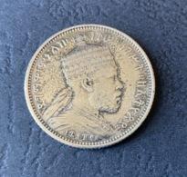 ETIOPIA Moneta 1/4 BIRR 1887 - 1895 ARGENTO - Menelik II (1889-1913) - Ethiopia